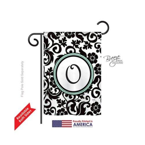 Breeze Decor 80067 Damask O Monogram 2-Sided Impression Garden Flag - 13 x 18.5 in.