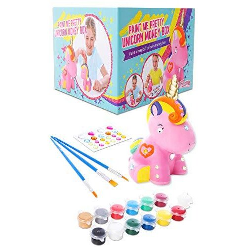 GirlZone: Paint Your Own Unicorn Money Box for Girls, Arts & Crafts for Kids, Great Birthday Gift For Girls of all ages