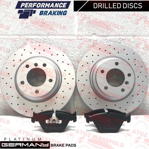 FOR BMW 330d E90 E91 E92 E93 FRONT DRILLED COATED BRAKE DISCS PDPADS 330mm