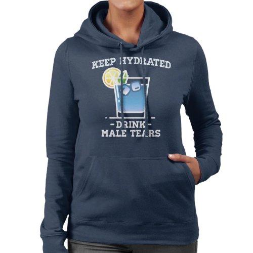 (Small, Navy Blue) Anti Men Keep Hydrated Drink Male Tears Women's Hooded Sweatshirt