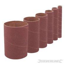 Silverline 114mm Bobbin Sleeves Set 6pce 80 Grit - 275488 Sanding -  80 grit 114mm bobbin sleeves set 6pce silverline 275488 sanding