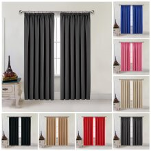 Thermal Blackout Curtains Pair Pencil Pleat Ready Made Window Panel Free Tieback