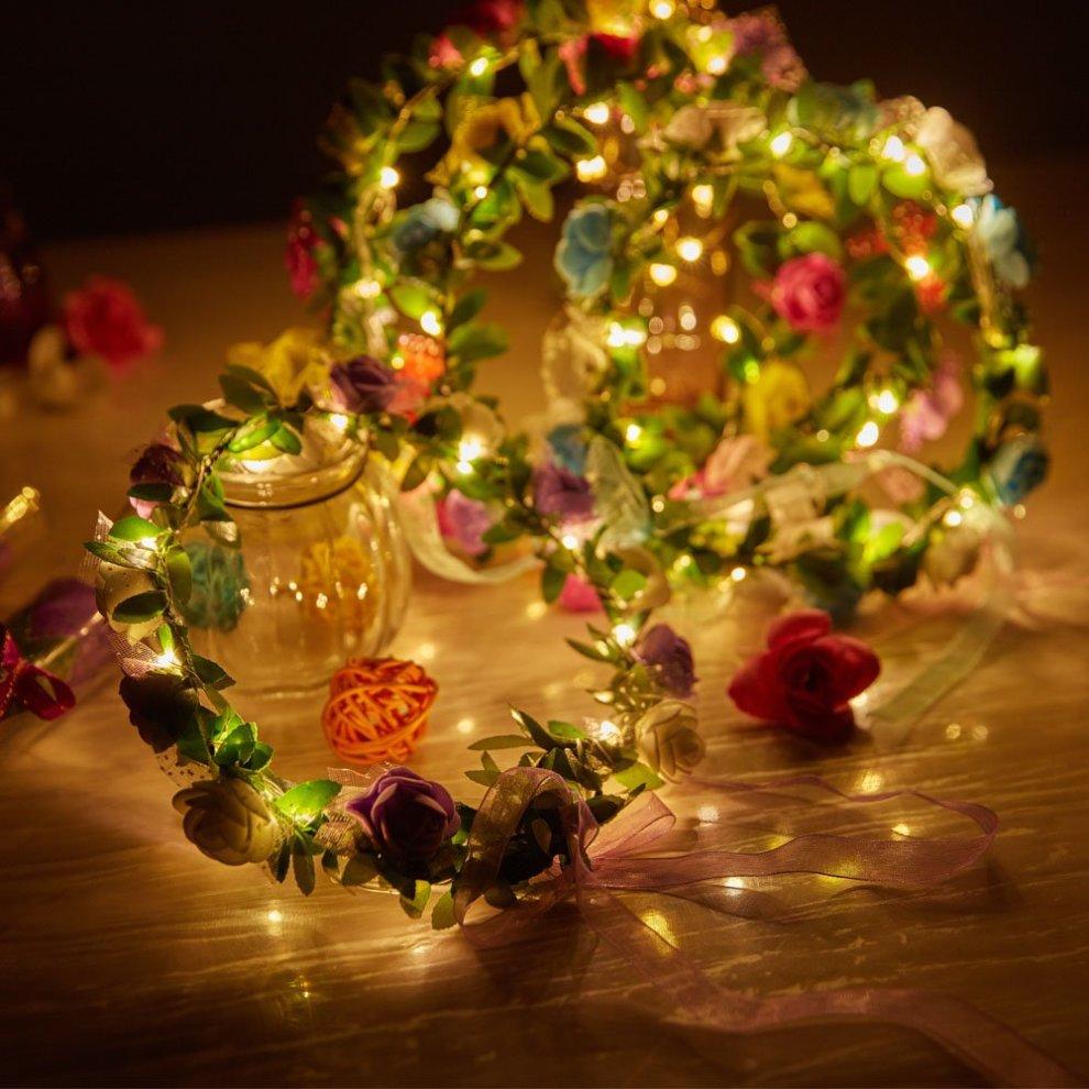 4Pcs Flower Wreath Headband Crown Floral Garland Boho for Festival Wedding