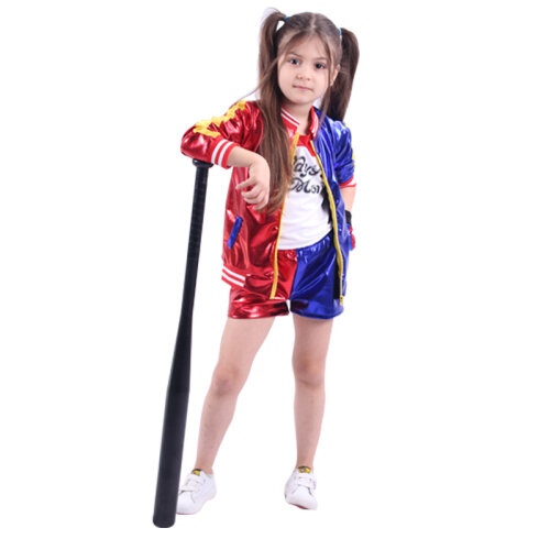 (Kids 130cm) Halloween Costume Suicide Squad Harley Quinn Giacche Camicia Shorts Girls Lady