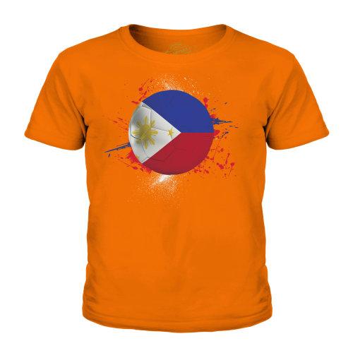 (Orange, 9-10 Years) Candymix - Philippines Football - Unisex Kid's T-Shirt