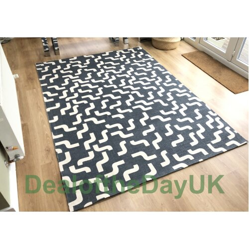 (60 x 120 cm) Large Cotton Print Grey Rug Small Hallway Runner Mat 60 x 120 x 180 170 x 240 cm