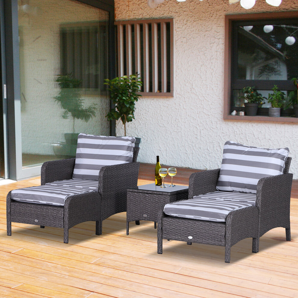 Outsunny 5pcs Outdoor Patio Furniture Set Wicker ...