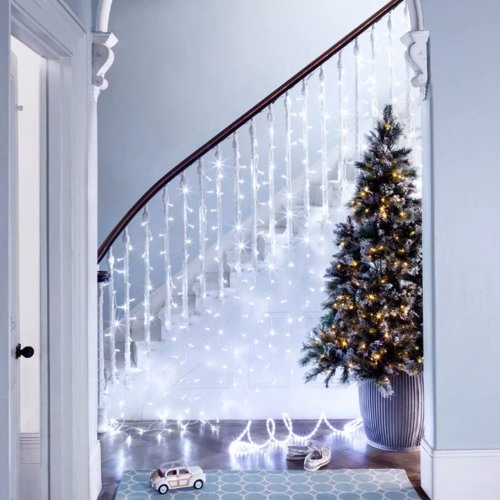 (960, White) The Magic Toy Shop LED Outdoor Icicle Lights | Outdoor Christmas Lights