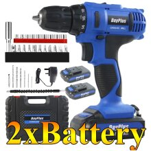 21V Cordless Drill Combi Drill with Hammer 2 Batteries Electric Screwdriver