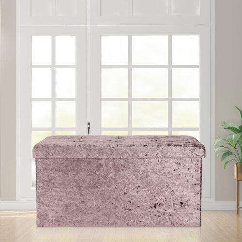(Pink) Velvet Storage Box Folding Seat Stool
