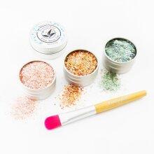 EcoStardust Retro Biodegradable Trio-Glitter, Gel, Brush Set PURE