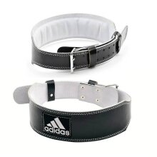 Adidas Leather Weight Lifting Belt Gym Power Training Lumbar Back Support