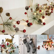 2M Christmas Pine Cone LED String Light Fairy Battery Copper Tree Garland Decors