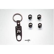Modifix - VW R Line Car Key Keyring Keychain & 4x Tyre Air Valve VW Golf Polo Passat Scirocco Caddy Touran