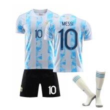 Messi #10 Argentina Home Men's T-shirt Soccer Jersey Kit for Kids Teens