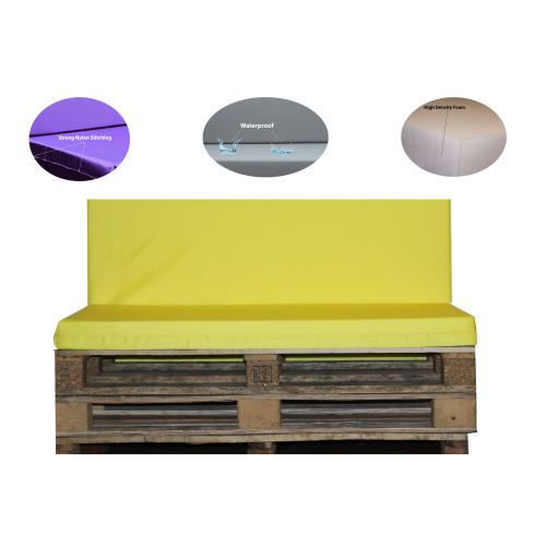 (SEAT ONLY          [120cm x 80cm x 13cm]) Outdoor Waterproof Garden Pallet Bench Pads Yellow