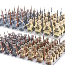 Minifigures 24pcs Military Building Blocks Eight-nation Phalanx Assembling WW2 Military Games Sand Tables Collections 16