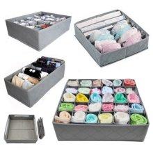 3Pc Grey Drawer Dividers Set   Drawer Organiser For Socks, Ties & Underwear