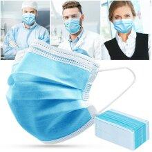 50pcs Face Masks Disposable 3 Layers Dustproof Mask Facial Protective