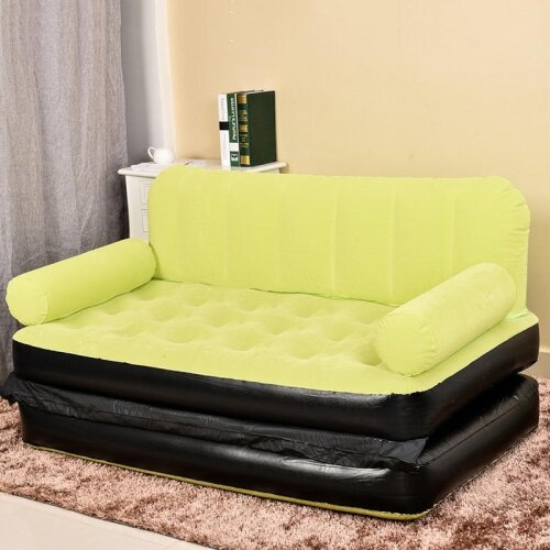 (green) 5 In 1 Outdoor Home Garden Inflatable Double Sofa Bed Comfortable Camping Air Sofa Bed