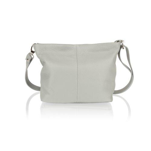 """Woodland Leather Light Grey Shoulder Bag 8.0"""" Adjustable Shoulder Strap"""