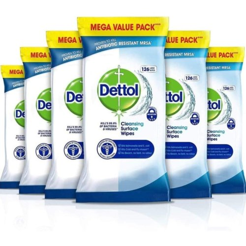 756pk Dettol Cleansing Surface Wipes   6 x 126 Large Antibacterial Wipes