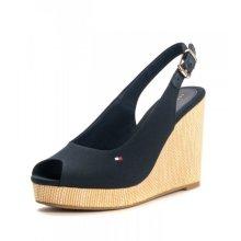 Tommy Hilfiger Women's Blue Iconic Elena Sling Back Wedge Sandals