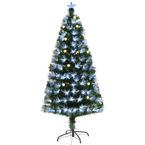 HOMCM 5ft White Light Artificial Christmas Tree w/ 180 LEDs Star Topper Tri-Base Full Bodied Seasonal Decoration Pre-Lit Home