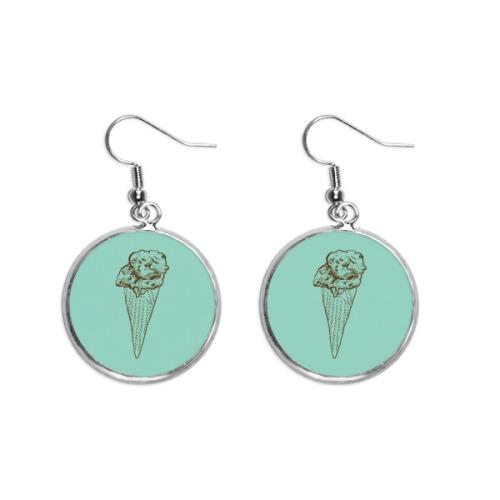 Crispy Chocolate Sketch Ice Cream Ear Dangle Silver Drop Earring Jewelry Woman