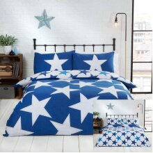 Rapport Stars Reversible Duvet Cover Bed Set, Polycotton Navy, Single