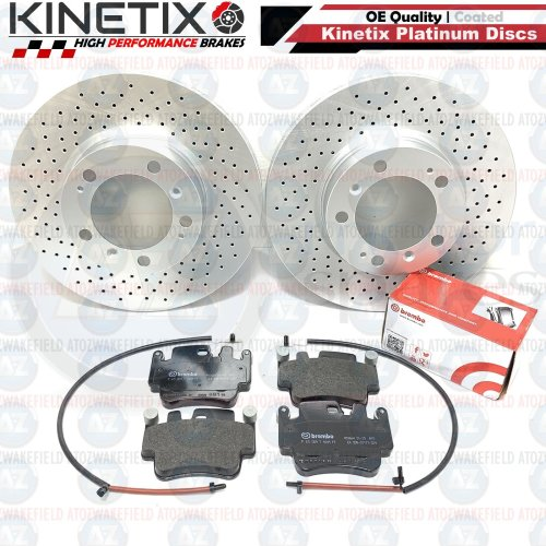 FOR PORSCHE 996 997 CARRERA 4S FRONT FRONT DRILLED BRAKE DISCS BREMBO PADS WIRES