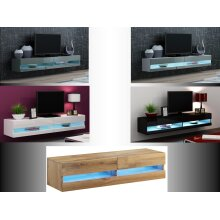 High Gloss TV Stand Cabinet with LED Lights   Entertainment Floating Wall Unit 140cm