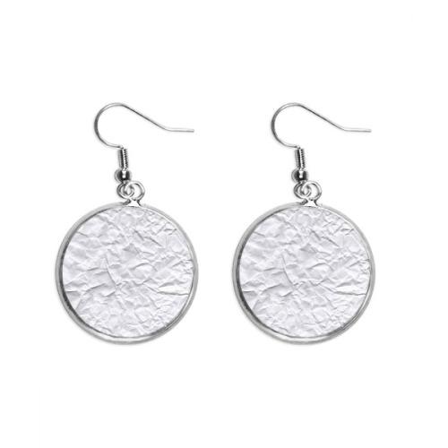 White Irregular Puckers Elegent Pattern Ear Dangle Silver Drop Earring Jewelry Woman