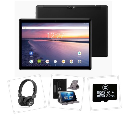 """10.1"""" Android 9.0 Tablet (3G) Bundle with Case, Bluetooth Headphones, Micro SD"""
