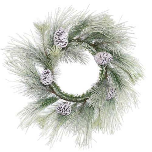 Vickerman E153224 22 in. Frosted Norway Pine Artificial Christmas Wreath Unlit with 22 Tip Count - Pack of 8