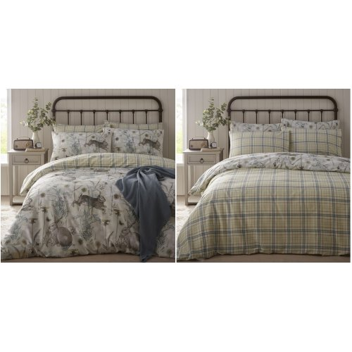 Rabbit Meadow Double Duvet Cover Country Bumpkin Quilt Bedding Set Sage Green
