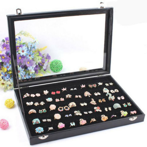 100 Earring Ring Holder Jewellery/Necklace Display Storage Box Cases