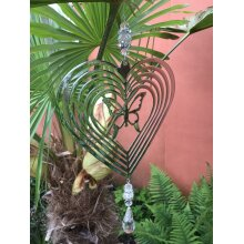Silver Spinner Garden Butterfly Hanging Decoration - With Crystal droplet