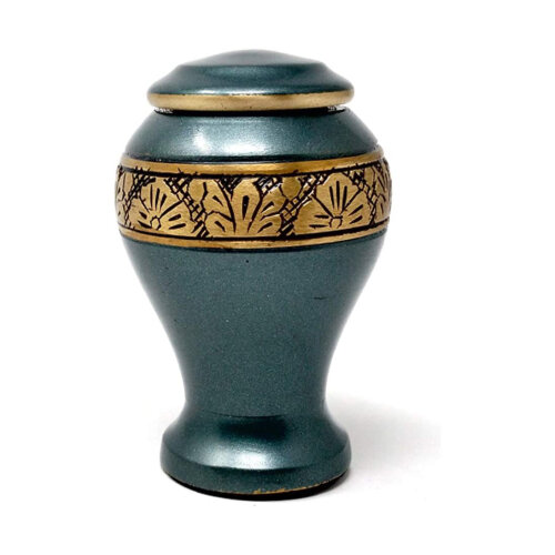 Classic Small Leaf Band Engraved Green Keepsake Memorial Urn For Ashes