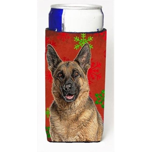 Red Snowflakes Holiday Christmas German Shepherd Michelob Ultra bottle sleeves for slim cans