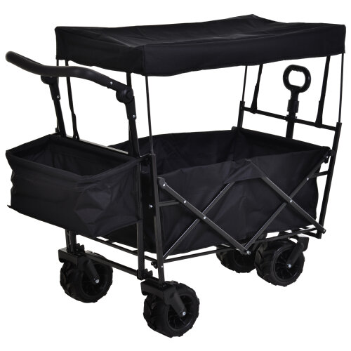 DURHAND Outdoor Push Pull Wagon Stroller Cart Fold Cargo w/ Canopy Top Black
