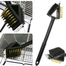 Barbecue BBQ Cleaning Bristles Stiff Brush Scraper 3 in 1 Grill Cleaning Tool