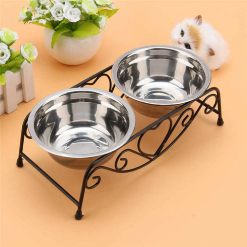 Doubl Pet Bowls Dish Dog Cat Stainless Steel Stand Feeder