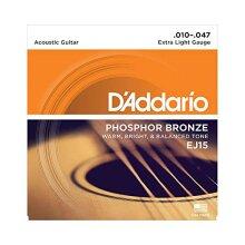 D'Addario EJ15 Phosphor Bronze Extra Light (.010-.047) Acoustic Guitar Strings