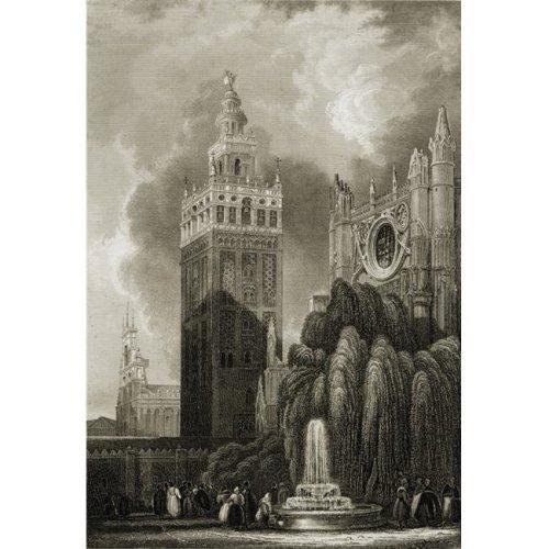 Seville Spain Giralda Tower 19th Century Print. Engraved by B. Metzeroth Poster Print, Large - 24 x 36