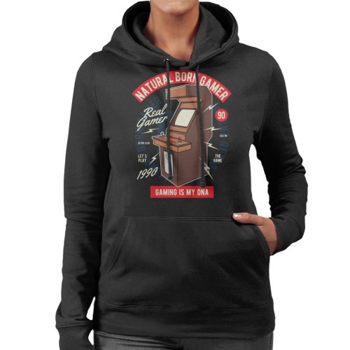 (Large) Natural Born Gamer Women's Hooded Sweatshirt