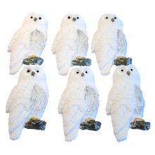 6 Edible Lovely White Owls Cake Cupcake Toppers
