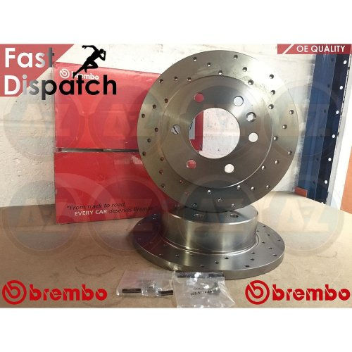 FOR VW CRAFTER 30-35 30-50 REAR SOLID DRILLED BREMBO BRAKE DISCS + SCREWS PAIR