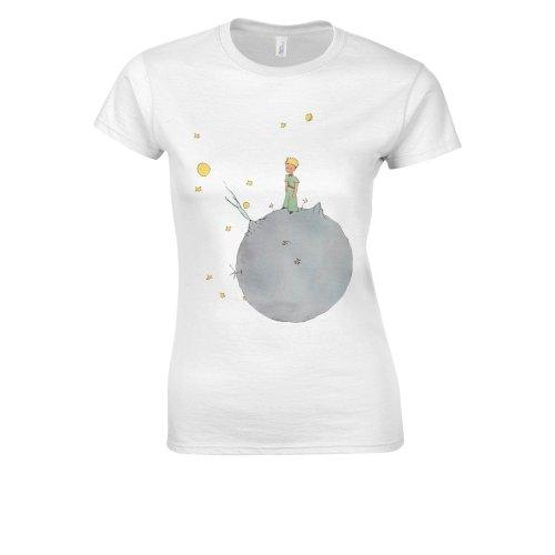 (Small, White) The Little Prince Antoine De Saint Novelty White Women T Shirt Top