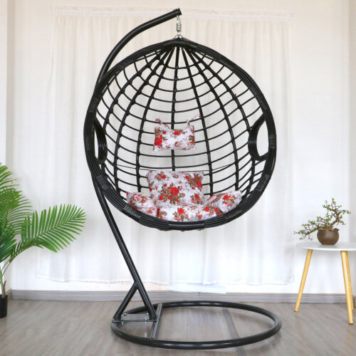 (Large Black) Living and Home Hanging Egg Chair